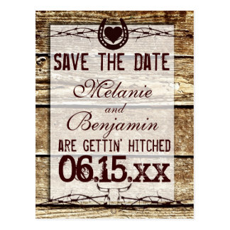 Rustic Wood Save the Date Getting Hitched Postcard