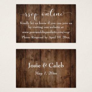 Rustic Wood & Script Wedding RSVP Online Inserts
