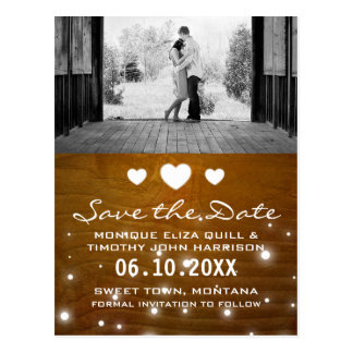 Rustic Wood Shabby Chic Wedding Card Save the Date Postcard