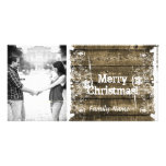 Rustic Wood Shabby Lace Photo Christmas Card Photo Greeting Card