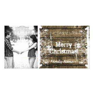 Rustic Wood Shabby Lace Photo Christmas Card Picture Card