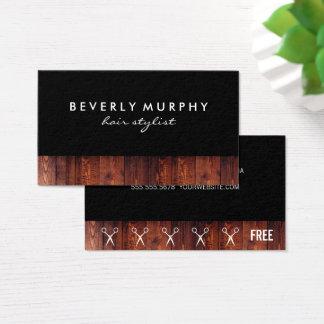 Rustic Wood Shear Logo (Loyalty) Business Card