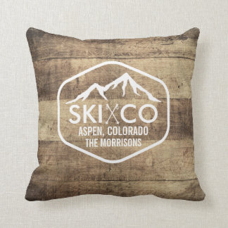 Rustic Wood Ski Poles & Mountain Aspen Colorado Cushion