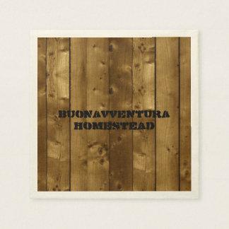 Rustic Wood Slats Customizable Name Disposable Serviette