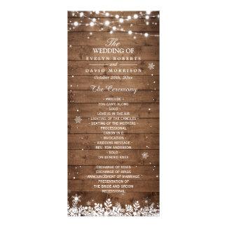 Rustic Wood Snowflakes Winter Wedding Program Rack Card Template