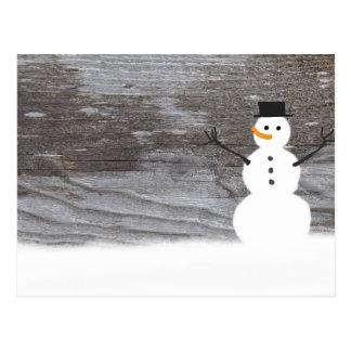 Rustic Wood Snowman Postcard
