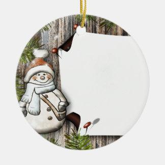 Rustic Wood Snowman Print Christmas Ornament