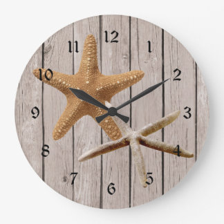 Rustic Wood Starfish Large Clock