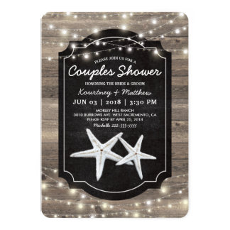 Rustic Wood Starfish Wedding Couples Shower Card