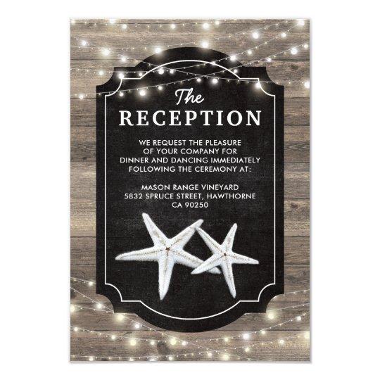 Rustic Wood Starfish Wedding Reception Card