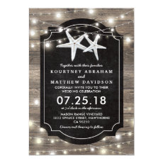 Rustic Wood Starfish Wedding | String of Lights