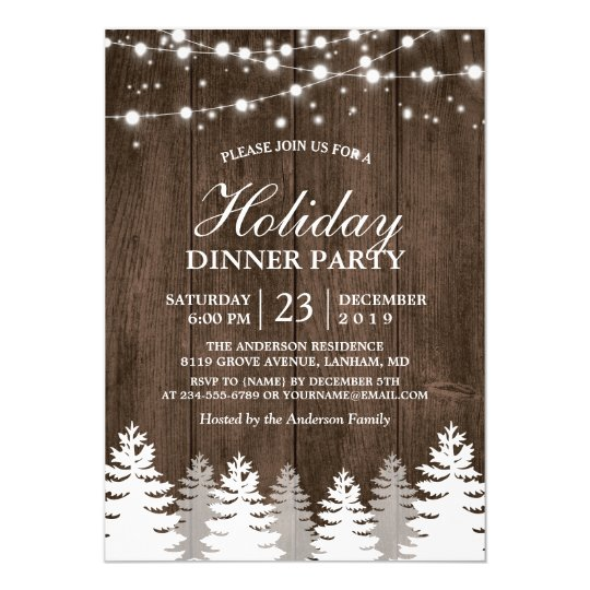 Holiday Party Invitation | Rustic Wood String Light Pines Tree Holiday Party Invitation