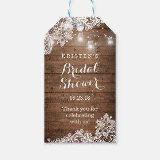Rustic Wood String Lights Bridal Shower Thank You Gift Tags