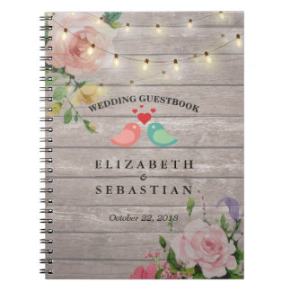 Rustic Wood String Lights Floral Wedding Guestbook Notebook