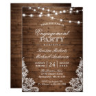 Rustic Wood String Lights Lace Engagement Party Card