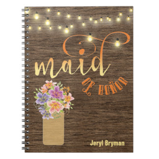 "Rustic Wood String Lights ""Maid-of-Honor"" Spiral Notebook"