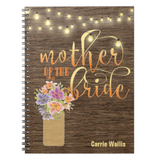 Rustic Wood String Lights Mother of the Bride Notebooks