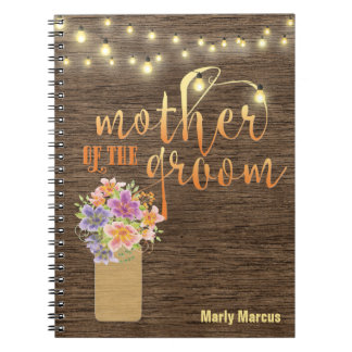 Rustic Wood String Lights Mother of the Groom Spiral Notebook