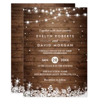 Rustic Wood String Lights Snowflake Winter Wedding Card