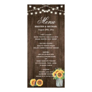 Rustic Wood String Lights Sunflowers Wedding Menu Personalised Rack Card