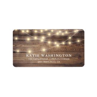 Rustic Wood & String Lights   Vintage Lace Wedding Address Label