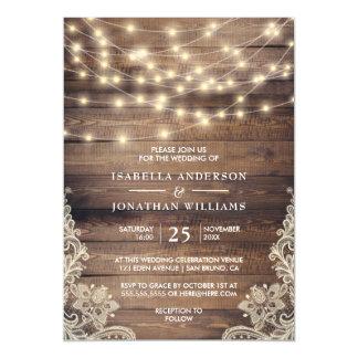 Rustic Wood & String Lights | Vintage Lace Wedding Magnetic Card