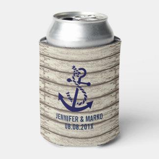 Rustic Wood Stripes & Blue Nautical Anchor