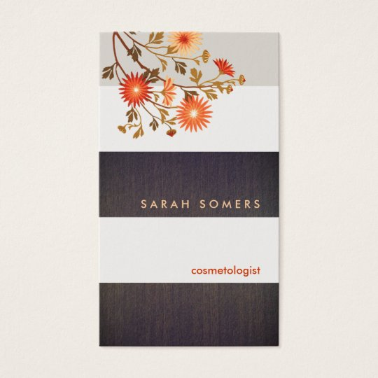 Rustic Wood Stripes Wild Flowers Floral Business Card