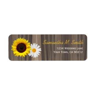 Rustic Wood Sunflower and Daisy Return Address Label