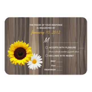 Rustic Wood Sunflower & Daisy RSVP w/ Meal Options 9 Cm X 13 Cm Invitation Card