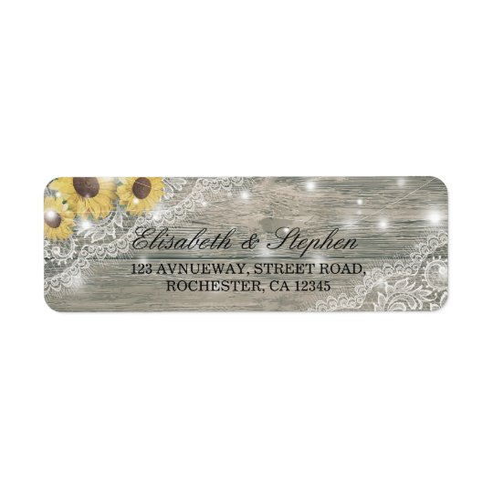 Rustic Wood Sunflower Elegant Lace Wedding Address Return Address Label