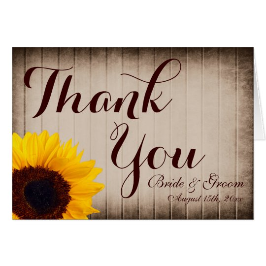 Rustic Wood Sunflower Wedding Thank You Cards