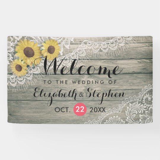Rustic Wood Sunflowers Elegant Lace Wedding Banner
