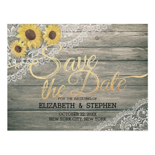 Rustic Wood Sunflowers Lace Wedding Save The Date