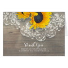 Rustic Wood Sunflowers Lace Wedding Thank You Card