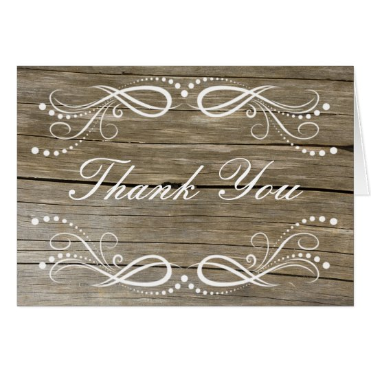Rustic Wood Swirl Floral Vintage Thank You Card