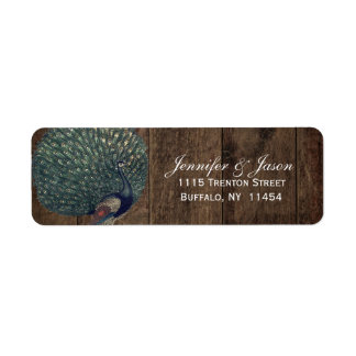 Rustic Wood Teal Feather Peacock Wedding Return Address Label