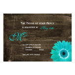 Rustic Wood Teal Gerber Daisy Wedding RSVP Cards Invitations