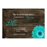 Rustic Wood Teal Gerber Daisy Wedding RSVP Cards Invitations