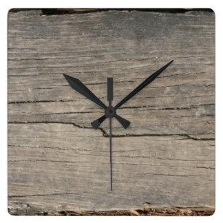 Rustic Wood Texture Square Wall Clock
