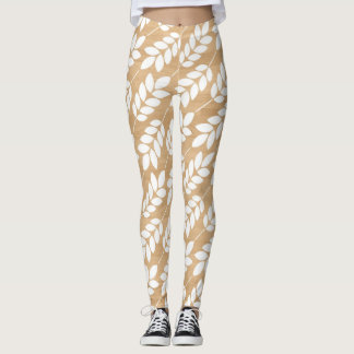 Rustic Wood Texture with White Foliage Pattern Leggings