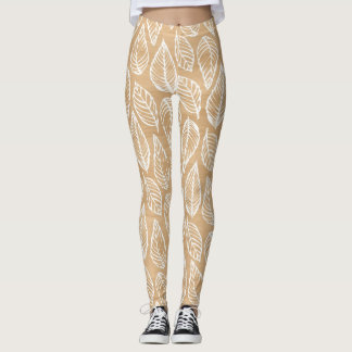 Rustic Wood Texture with White Leaves Pattern Leggings