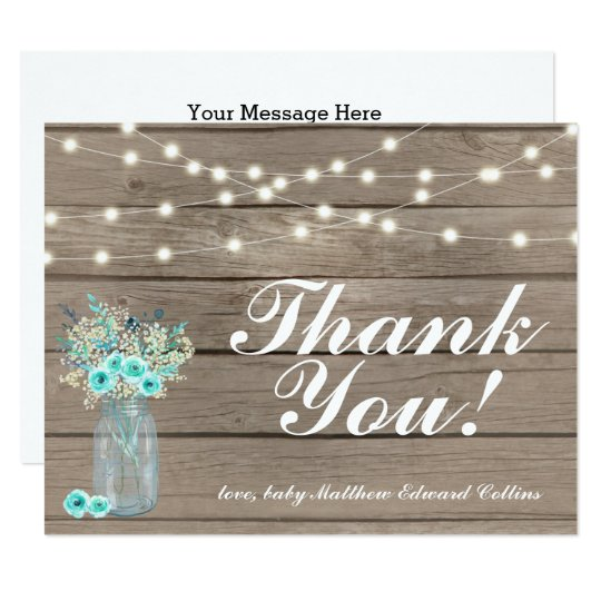 Rustic Wood Thank You String Lights Note Card