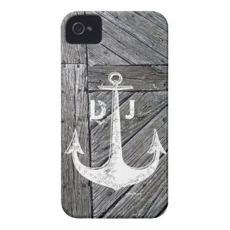 Rustic wood vintage anchor nautical monogram Case-Mate iPhone 4 cases