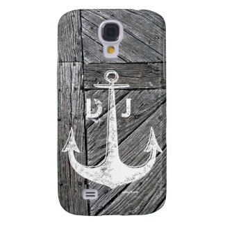 Rustic wood vintage anchor nautical monogram galaxy s4 case