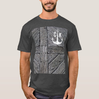 Rustic wood vintage anchor nautical monogram T-Shirt
