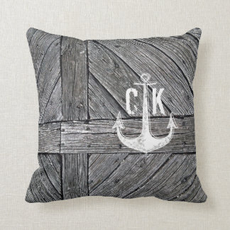 Rustic wood vintage anchor nautical monogram throw pillow