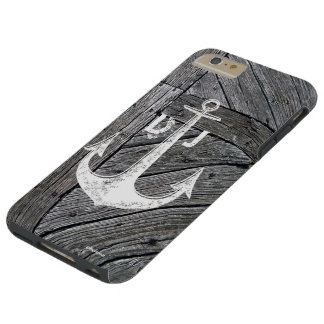 Rustic wood vintage anchor nautical monogram tough iPhone 6 plus case