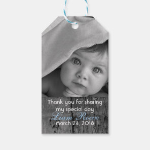Rustic Wood Vintage Cross Baptism Thank You Photo Gift Tags