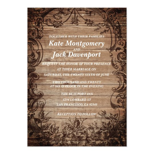 Vintage Carved Tree Wood Wedding Invitation